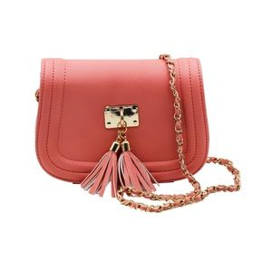 Pink fringed leather sweet little purse